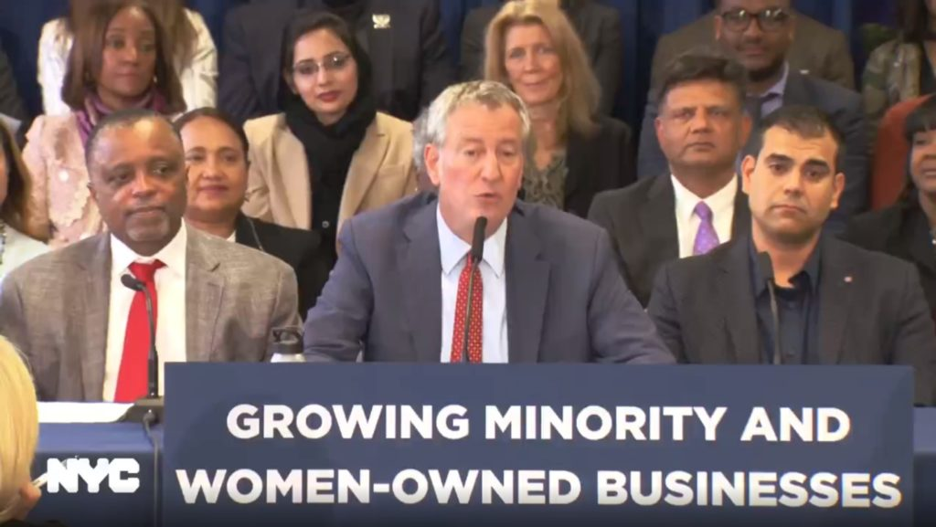 Mayor Bill de Blasio announces new procurement law for NYC MWBEs